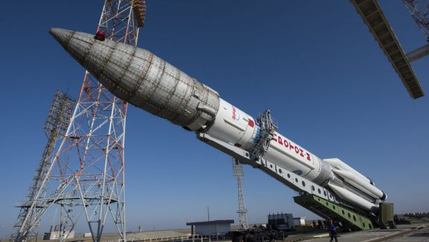 The Proton rocket that will launch the ExoMars spacecraft to Mars from Baikonur Cosmodrome in Kazakhstan.