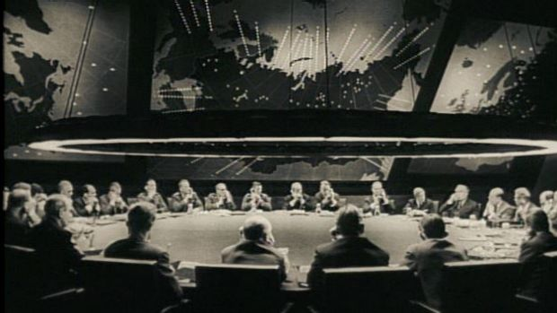The War Room in Stanley Kubrick's Dr Strangelove. The iconic set, which helped shape the popular perception of the Cold ...