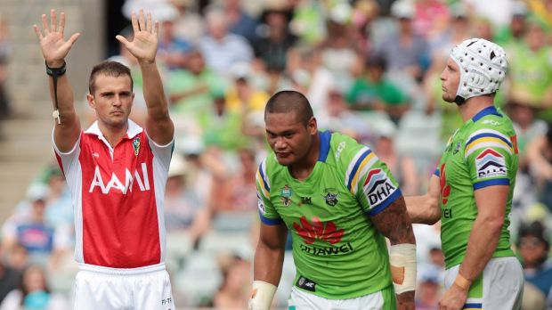 Take 10: Joey Leilua marches off to the sin bin in Saturday's win over the Sydney Roosters.