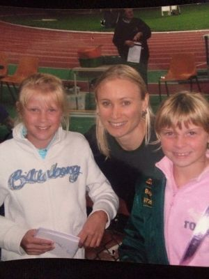 A young Brooke Stratton (left) with former holder of the Australian long jump record, Bronwyn Thompson.