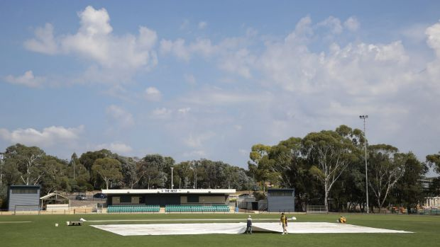 "Swamp: Kippax Oval was ""washed out"" on Sunday, despite the hot temperature and bright sunshine."