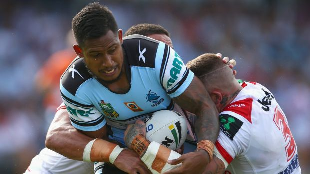 Ben Barba is tackled.
