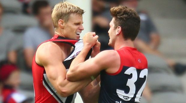 Fighting fit:  Nick Riewoldt tussles with Melbourne's Tomas Bugg during their NAB Challenge match.