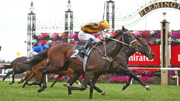 Controversial cup protest costly for Awesome Rock: Stephen Baster riding Awesome Rock wins race 7 during the Australian Cup.