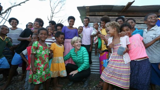 Minister for Foreign Affairs Julie Bishop meets some locals at Koro Island on day one of her Australian Aid to Fiji ...