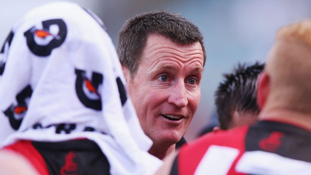 Zoning out: Bomber coach John Worsfold speaks to players during the match against West Coast.