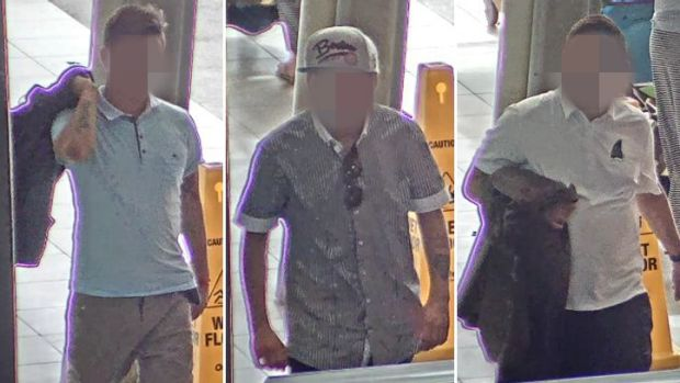 Three men police believe were involved in a Gold Coast robbery.