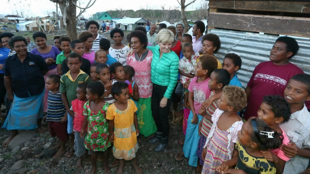 Foreign Affairs Minister Julie Bishop meets locals during her visit to Koro Island.