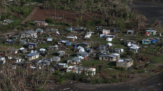 Koro Island in Fiji after it was hit by Tropical Cyclone Winston.