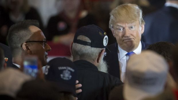 Republican presidential candidate Donald Trump campaigning in West Chester, Ohio on Sunday.