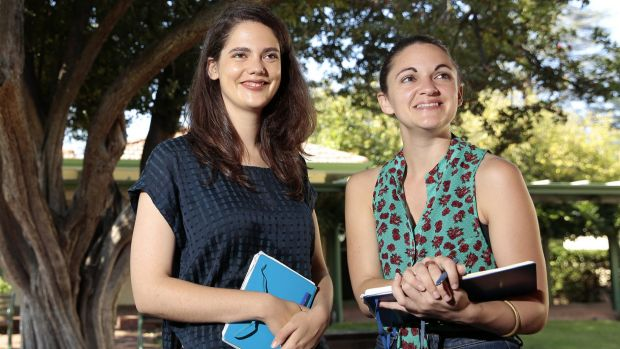 Noted writers' festival co-directors Yasmin Masri, left, and Lucy Nelson at Gorman Arts Centre, one of the venues for ...