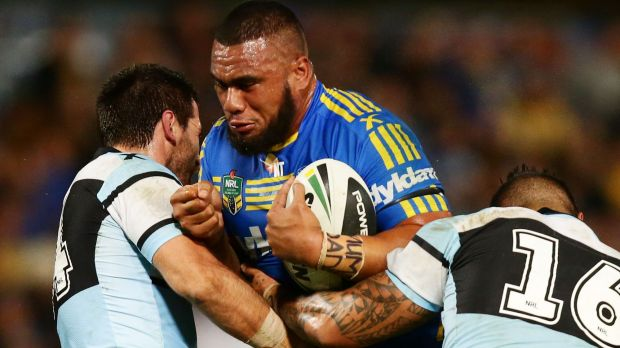 Warning: Junior Paulo, seen here playing for the Eels..
