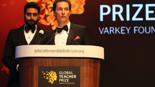 Actor Matthew McConaughey, right, stands next to Bollywood actor Abhishek Bachchan at the ceremony awarding the Global ...