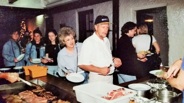 Some of the many Canberrans who had a night at the Gundaroo Pub queue for a T-bone in the 1980s.