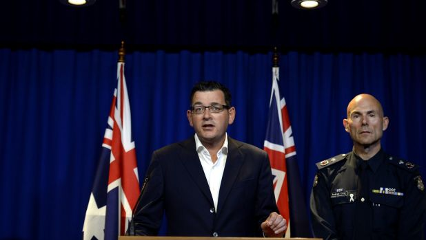 Premier Daniel Andrews and Victoria Police Deputy Commissioner Andrew Crisp at a press conference discussing the gang ...