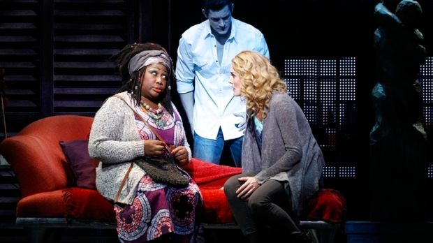 Wendy Mae Brown playing psychic Oda Mae Brown with Rob Mills and Jemma Rix in Ghost the Musical.