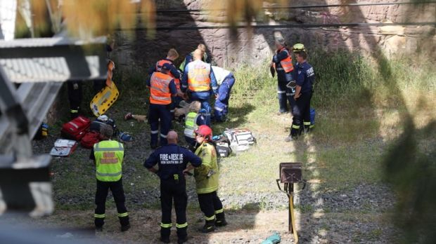 A 15-year-old boy was treated for serious injuries to his lower boy after he fell form a bridge in Meadowbank.