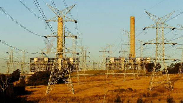 High voltage transmission lines running from Liddell Power Station, a coal-fired thermal electricity generator at Lake ...