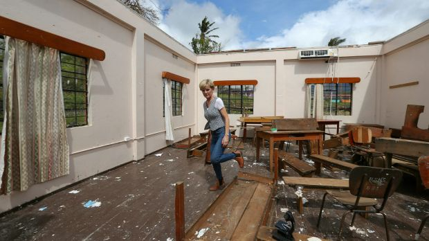 Foreign Affairs Minister Julie Bishop surveys the damage to Penang Sangam High School in Rakiraki.