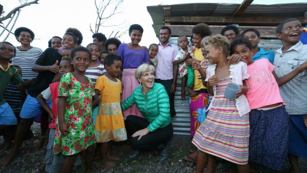 Foreign Minister Julie Bishop meets with locals during a visit to bring Australian aid to Fiji after Tropical Cyclone ...
