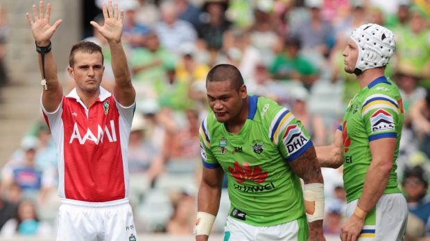 Raiders centre Joey Leilua is sent to the sin bin against the Roosters.