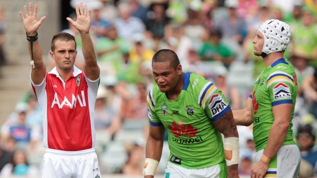 Off you go: Raiders centre Joey Leilua is sent to the sin bin against the Roosters, but he was found not guilty by the ...