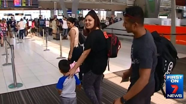 Aileen Chand arrives back in Melbourne with her son and husband.