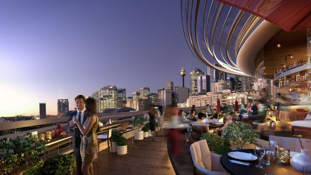 An artist's impression of a proposed outdoor bar in the Darling Exchange building.