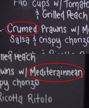 "Mike and Tarq noticed JP and Nelly misspelled their menu, but Mike refers to the ""crumed prawns"" mistake as ""pretty ..."