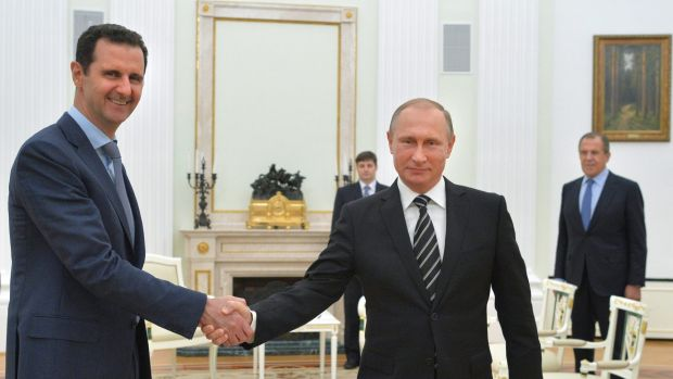 Syrian President Bashar al-Assad, left, with Russian President Vladimir Putin, in Moscow.