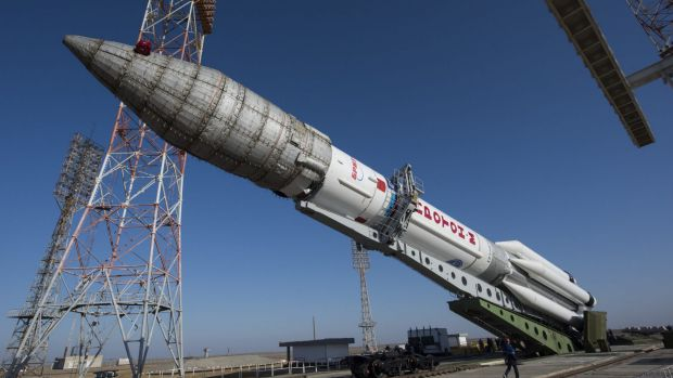 The European Space Agency's Proton rocket being prepared for its mission to Mars, at Baikonur, Kazakhstan, earlier this ...