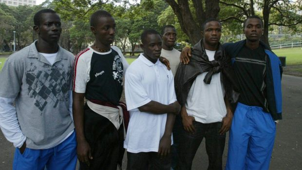 Members of the Sierra Leone Commonwealth Games Team, pictured in Sydney, just before giving themselves up to immigration ...