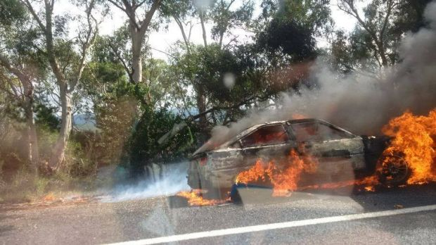 A burning car on the Kings Highway sparked a small fire in nearby bushland.