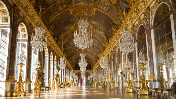 The Hall of Mirrors at the Palace of Versailles.