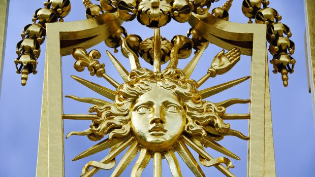 The Sun King gate at the Palace of Versailles.