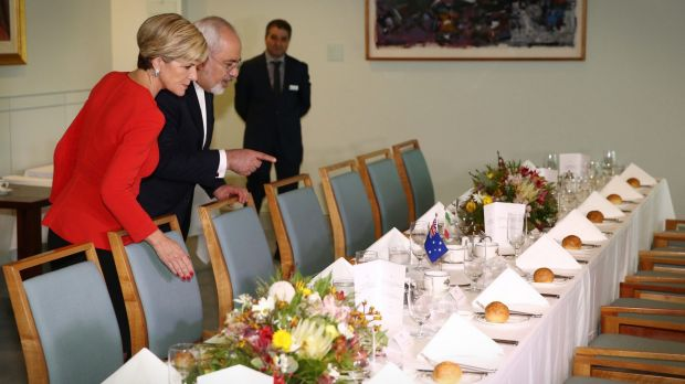 Foreign Affairs Minister Julie Bishop met with Iranian Foreign Minister Dr Javad Zarif at Parliament House in Canberra ...