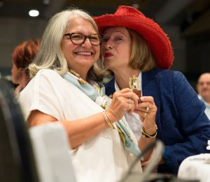 Happy draw: Lea Stracey and Gai Waterhouse at the Golden Slipper barrier draw on Tuesday.
