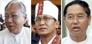 Presidential, from left: Htin Kyaw, Henry Van Hti, from the National League for Democracy party, and Myint Swe, the ...