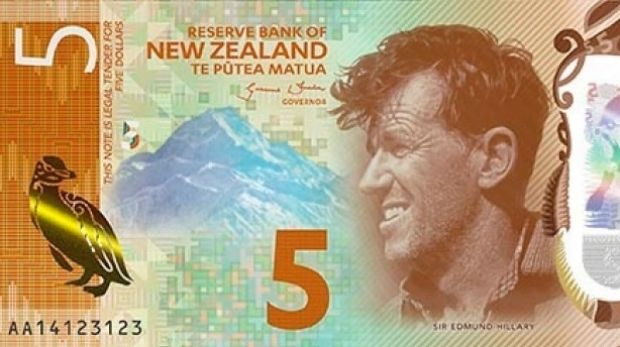 Sir Edmund Hillary graces the New Zealand $5 note.
