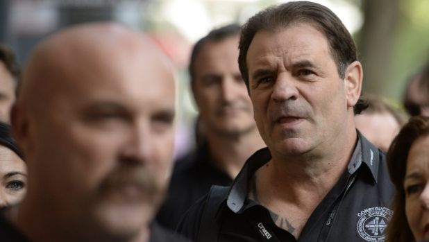 Union leaders Shaun Reardon, left and John Setka arrive at  the Melbourne Magistrates Court on Tuesday.