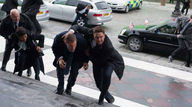 Action man Gerard Butler (centre right) doing his thing amidst a familiar pattern of mayhem.