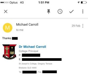 An email exchange between Terrace principal Dr Michael Carroll and a former student