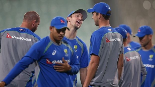 Laughing matter: Mitchell Marsh shares a joke in the lead-up to Australia's World T20 opener.