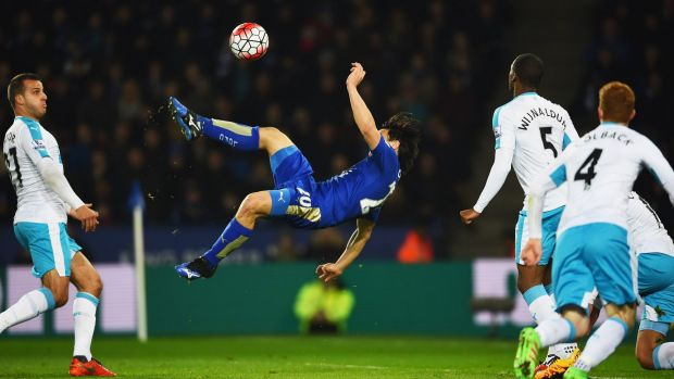 Stunning: Shinji Okazaki's strike moved Leicester one step closer to the most unlikely of Premier League triumphs.