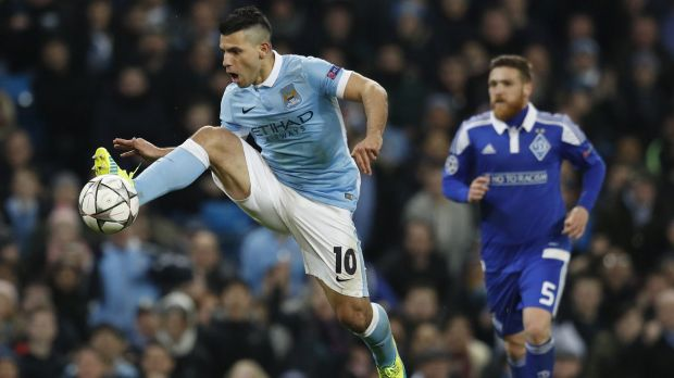 Manchester City's Sergio Aguero leaps to control the ball during the Champions League round of 16 clash with Dynamo Kiev ...