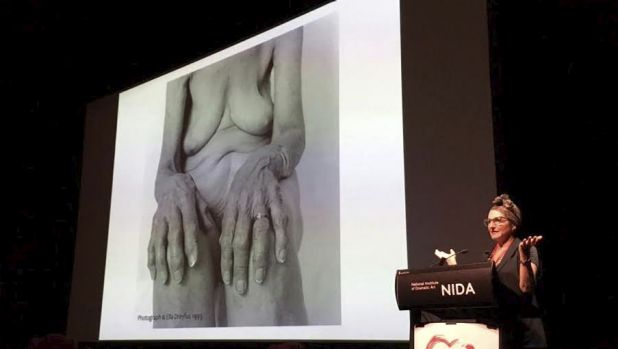 Dreyfus at Sydney's Arts Health Institute conference on Monday. During the lecture, Facebook censored her account.