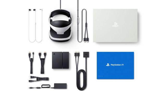 Everything that comes in the PlayStation VR box, including earphones, headset, cables and processing unit.