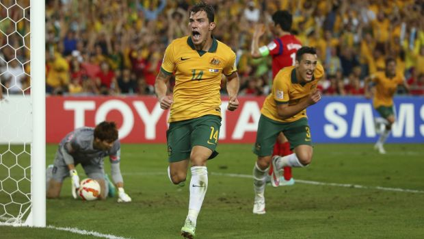 Sydney scene: James Troisi celebrates after scoring a famous goal for Australia in the 2015 Asian Cup final at ANZ Stadium