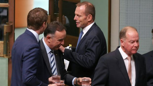 Former prime minister Tony Abbott speaks with colleagues at the start of question time on Wednesday.