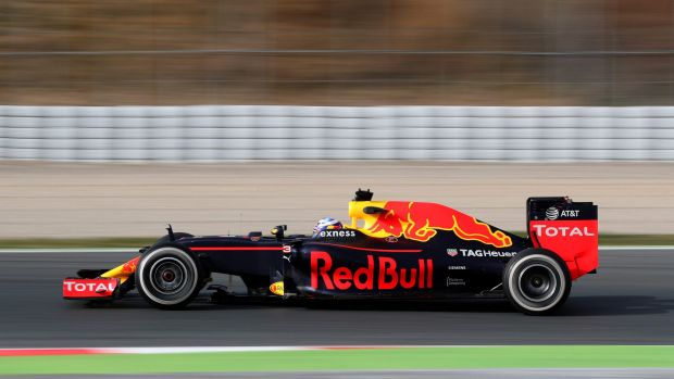 From Britain with love: The Red Bull car gains Aston Martin branding.